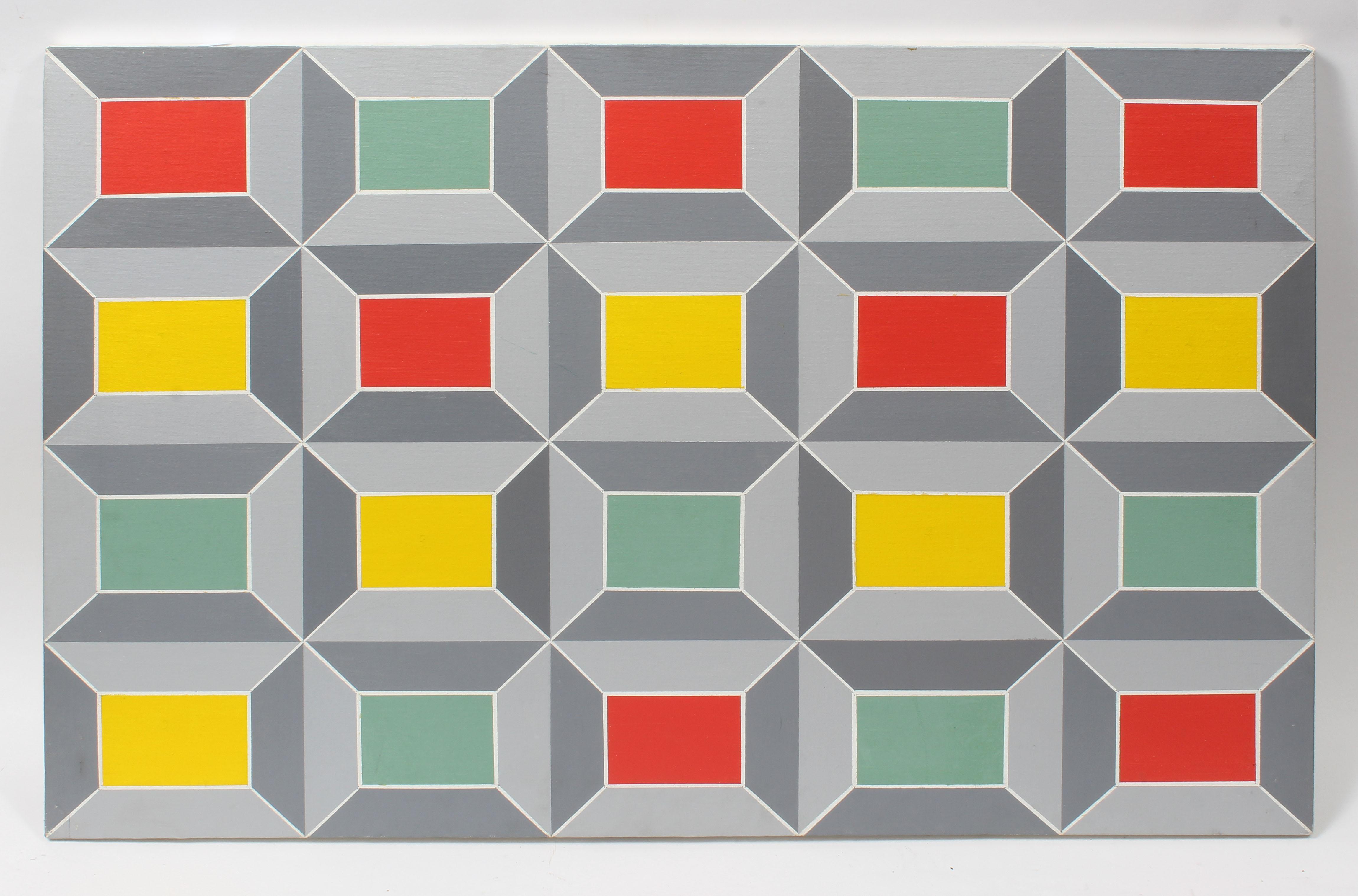 American School Mid Century Modern Abstract Geometric Oil Painting