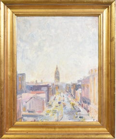 American School Modernist Ashcan Style Oil Painting of New York City