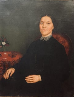 American School Portrait of a Woman, Oil on Canvas, 19th C