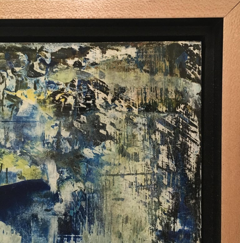 American School Untitled Abstract Painting in Blues, Gold, Yellow and White For Sale 1