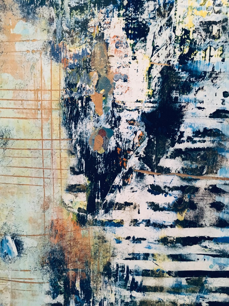American School Untitled Abstract Painting in Blues, Gold, Yellow and White For Sale 3