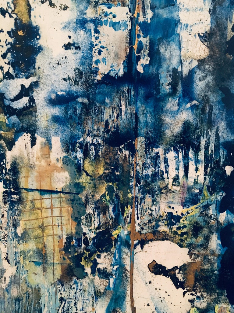 American School Untitled Abstract Painting in Blues, Gold, Yellow and White For Sale 4