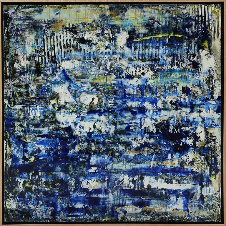 """American School (21st century),  Untitled in blues, gold, yellow and white Acrylic and enamel on wood panel, unsigned Panel: 30""""h x 30""""w, overall ( with frame): 31.25""""h x 31.25""""w  This striking painting displays various shades of blue, mixed in with"""