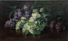 American table Top Still Life with Lilacs and Zinnias, Boston, Circa 1900