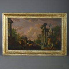 An 18th Century Oil on Canvas Architectural Capriccio - Studio of Panini