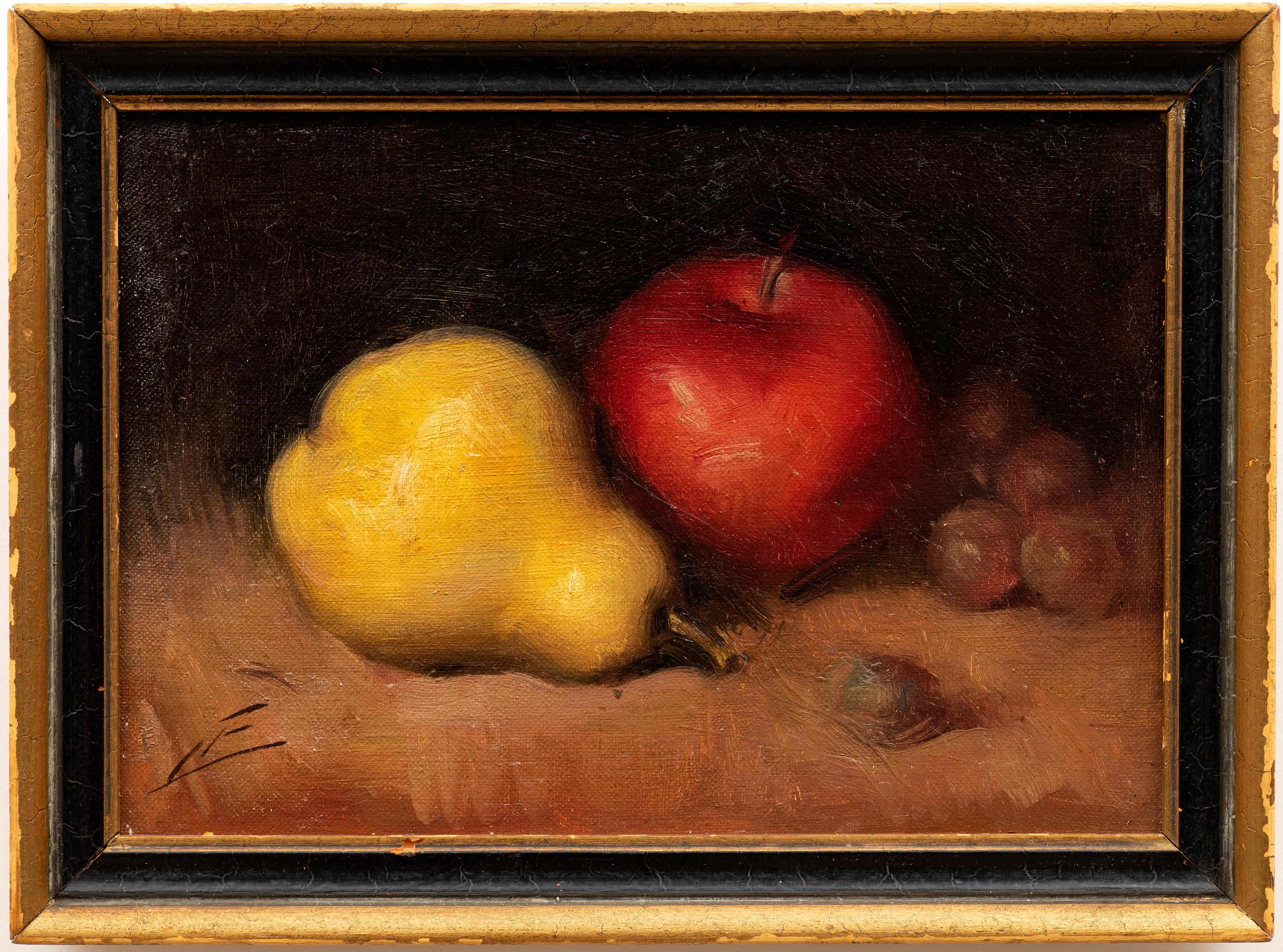 An American Still Life of an Apple, Pear and Grapes circa 1880s