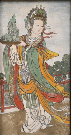 An Early Ming Dynasty Fresco Painting of a Female Attendant