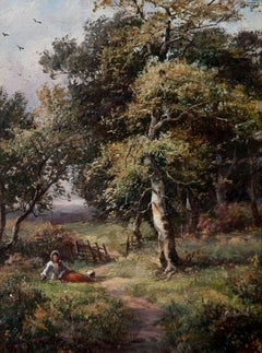 An English Genre Landscape Painting Late Victorian 19th Century by W Stanley