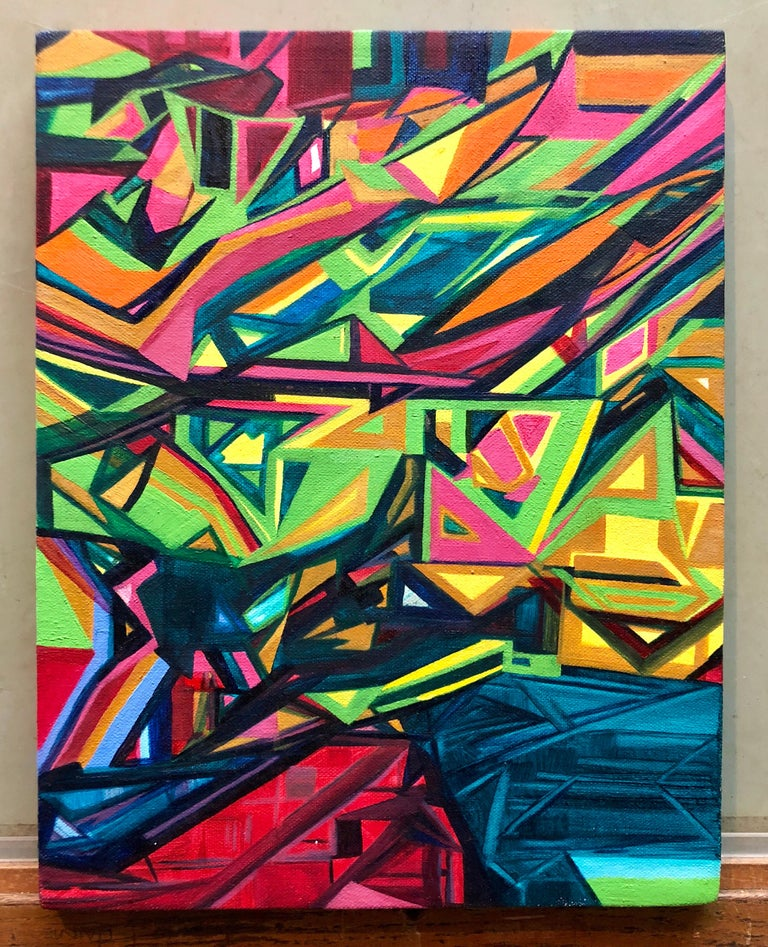 Illegibly signed, titled and dated verso. angular abstract geometric painting in a graffiti, street art stye.