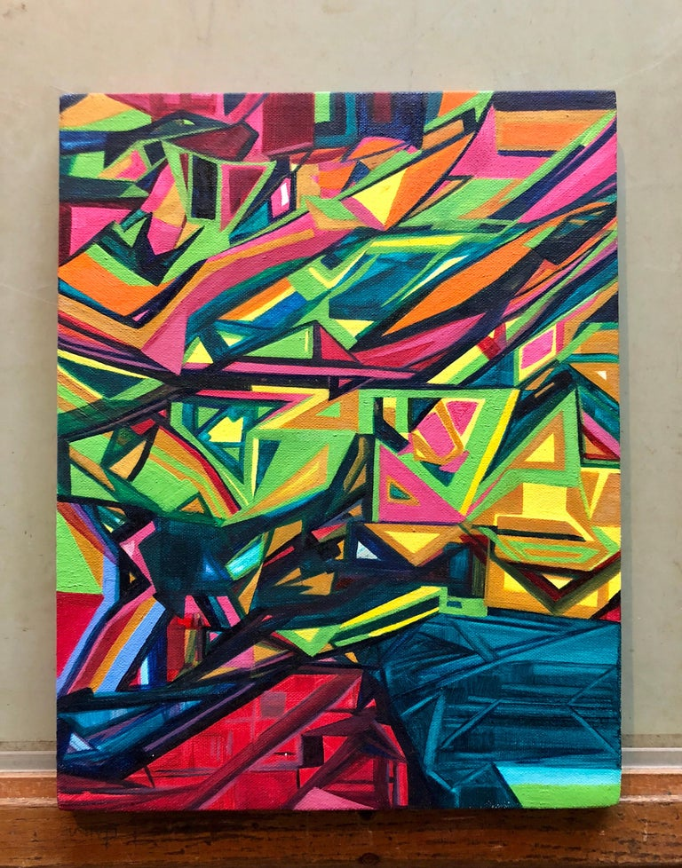 Angular Revelation, Abstract Geometric Day Glo Street Art Graffiti Painting - Black Abstract Painting by Unknown
