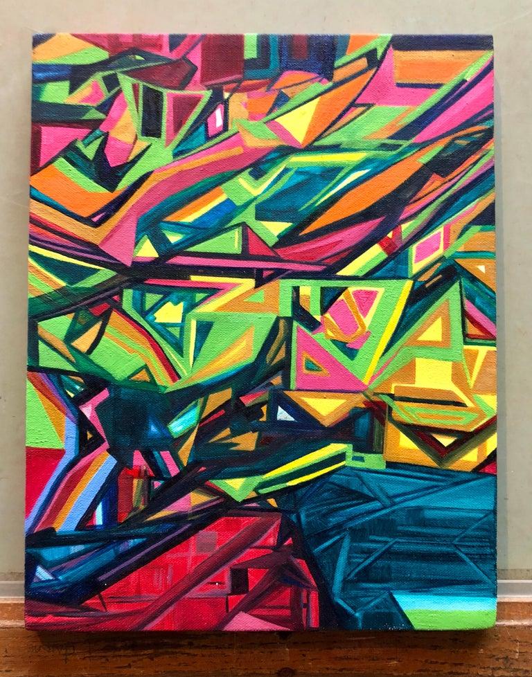 Angular Revelation, Abstract Geometric Day Glo Street Art Graffiti Painting For Sale 1