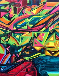 Angular Revelation, Abstract Geometric Day Glo Street Art Graffiti Painting