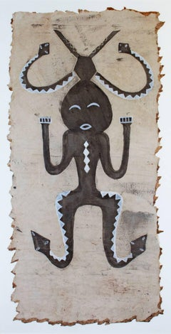 """Anthropomorphic Figure,"" Ink and Gouache Painting by Unknown African Artist"