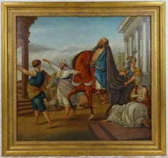Antique 18th c. Italian Figurative Oil on Board Painting - Emperor's Procession