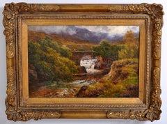 Antique 19th Century Scottish Highland Landscape Oil Painting on Canvas 1850