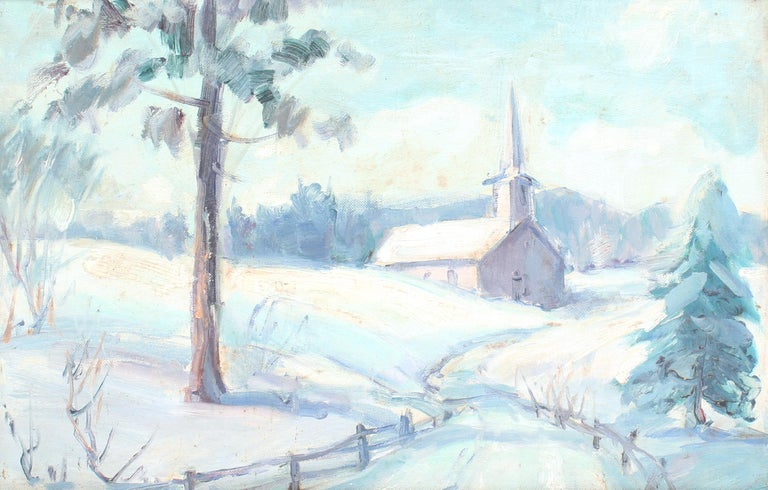 Antique America Impressionist Oil Painting Winter Landscape Church Framed 1930's - Black Landscape Painting by Unknown
