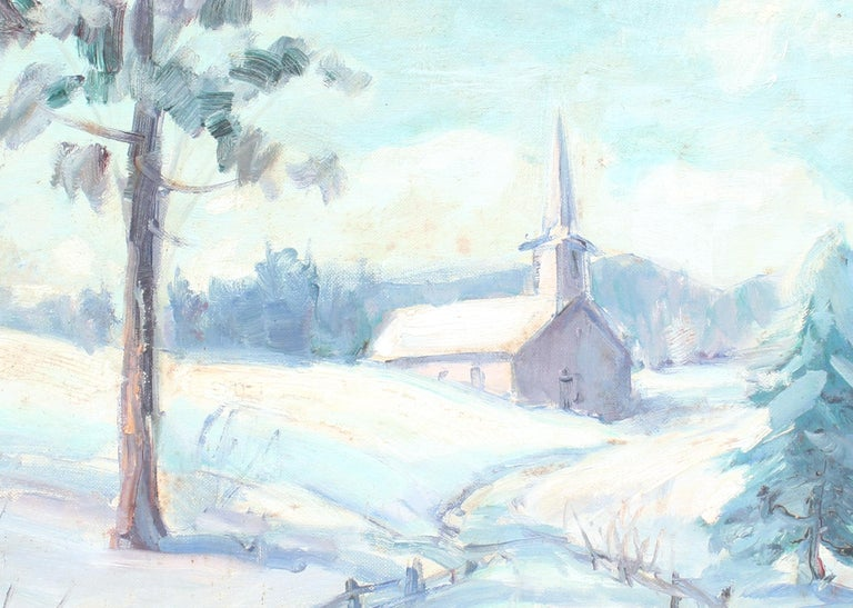 A beautiful modern American impressionist painting depicting a church in winter.  This lovely painting comes house in a statement frame.  Though unsigned this work was clearly crafted by the hand of a talented impressionist painter.