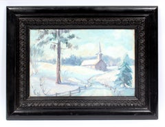 Antique America Impressionist Oil Painting Winter Landscape Church Framed 1930's