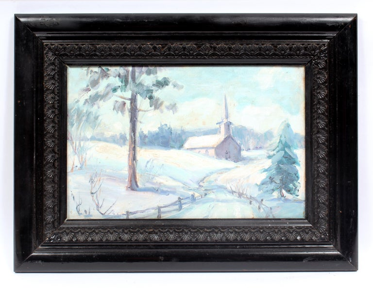 Unknown Landscape Painting - Antique America Impressionist Oil Painting Winter Landscape Church Framed 1930's
