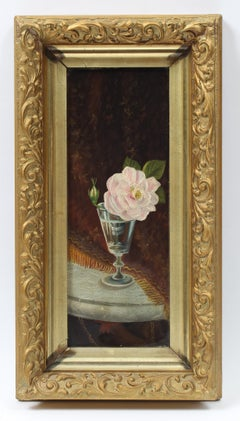 Antique American 19th Century Still Life Floral Pink Frame Oil Painting 19th C