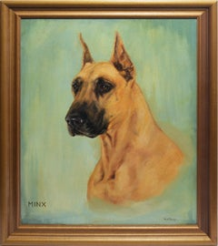 Antique American Animal Oil Painting Study of a Boxer Dog