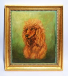Antique American Animal Oil Painting Study of a Poodle Dog