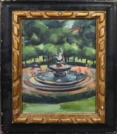 Antique American Ashcan School Central Park Fountain Kids Playing Oil Painting