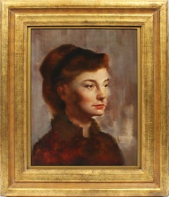 Antique American Ashcan School Original Portrait Of A Young Woman Oil Painting