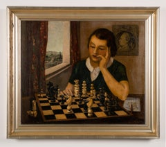 Antique American Chess Master Interior Portrait Signed 19th Century Oil Painting