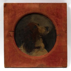 Antique American circular Oil painting of a Springer Spaniel Hunt 1880's Unique