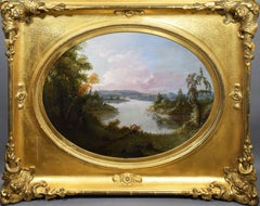 Antique American Early Hudson River School Sporting Art Duck Hunt Oil Painting
