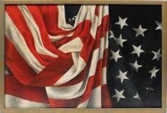 Antique American Flag Original Oil Painting Trompe L'Oeil Still Life Patriotic