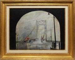 Antique American George Washington Bridge Foggy New York Cityscape WPA Painting