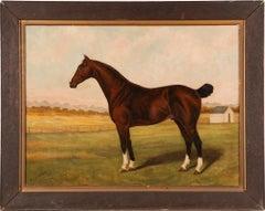 Antique American Horse Portrait Signed 19th Century Farm Landscape Oil Painting