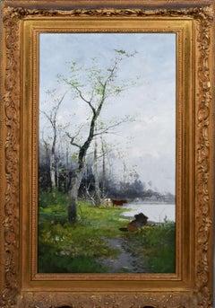 Antique American Hudson River School Bucolic Cow Landscape Original Oil Painting