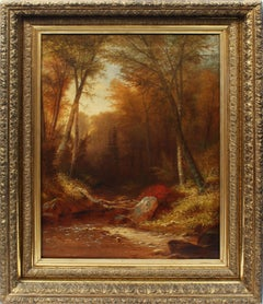 Antique American Hudson River School Fall Forest Interior Original Oil Painting