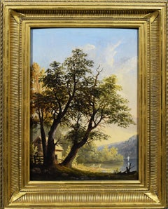Antique American Hudson River School Intimate Summer View Original Oil Painting