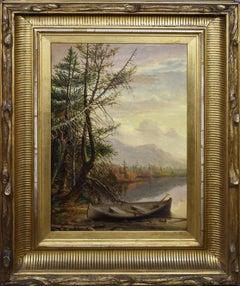 Antique American Hudson River School Landscape Luminous Panoramic Oil Painting