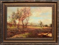 Antique American Hudson River School Landscape Sunset Cows Tonalist Oil Painting