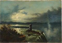 Antique American Hudson River School Niagara Falls 1860s Landscape Oil Painting