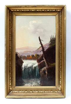 Antique American Hudson River School Oil Painting Waterfall Original Frame 19th