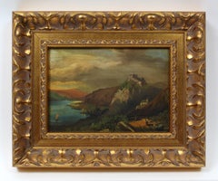 Antique American Hudson River School Painting Castle Figures Framed 19th Century