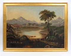 Antique American Hudson River School Painting Cows People Charming Rare Framed
