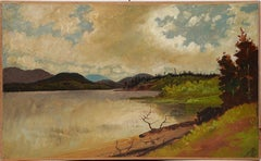 Antique American Hudson River School Panoramic Summer Landscape Oil Painting