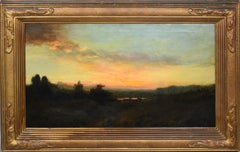 Antique American Hudson River School Panoramic Sunset Landscape Signed Painting