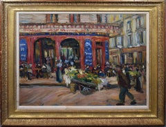 Antique American Impressionist Ashcan School Cafe Street Scene Oil Painting