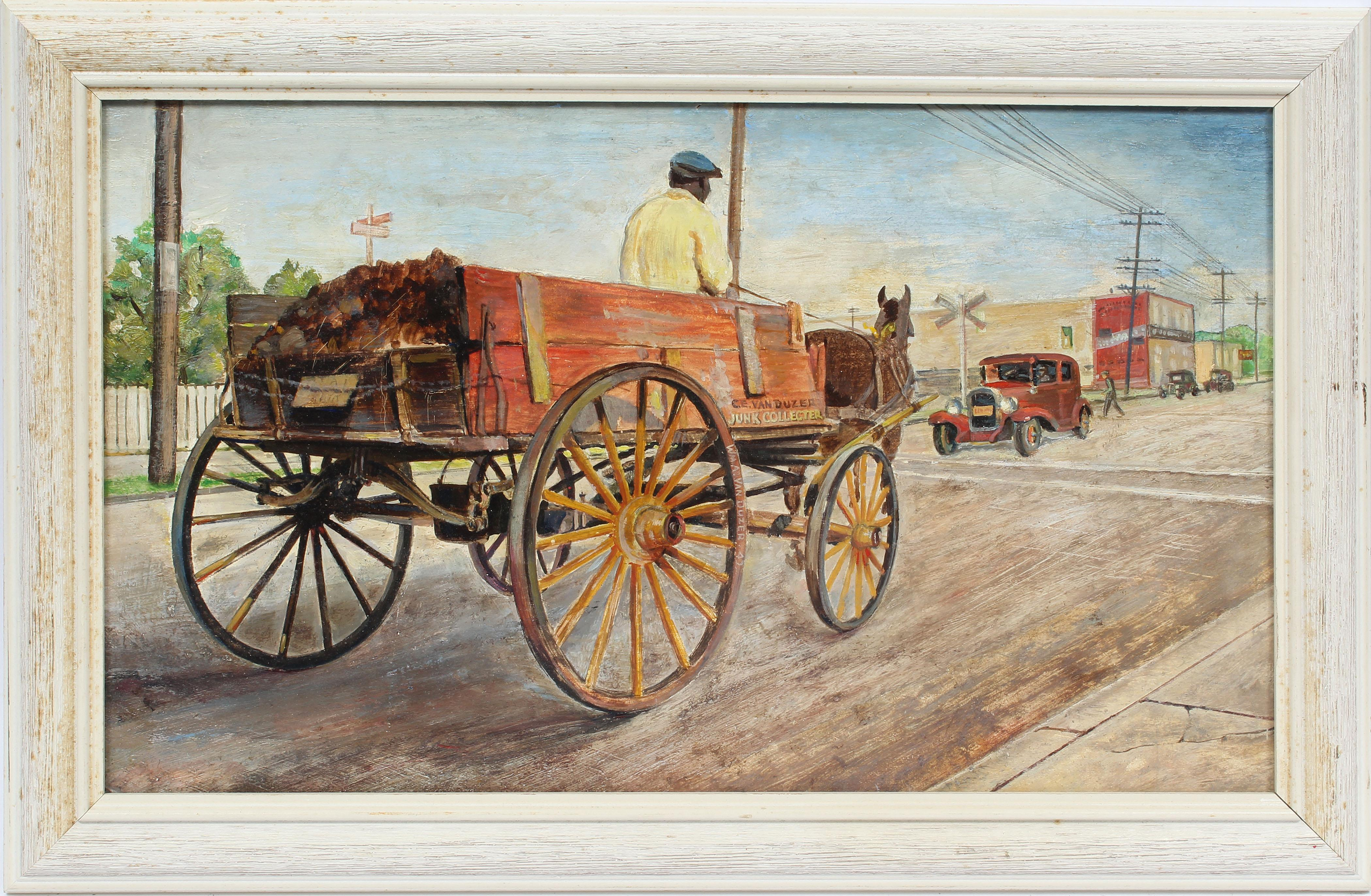 Antique American Impressionist Ashcan School Junk Collector Cityscape Painting