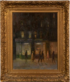 Antique American Impressionist Ashcan School Nocturnal Cityscape Oil Painting