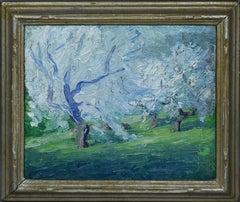 Antique American Impressionist Blossom Tree Thick Impasto Original Oil Painting