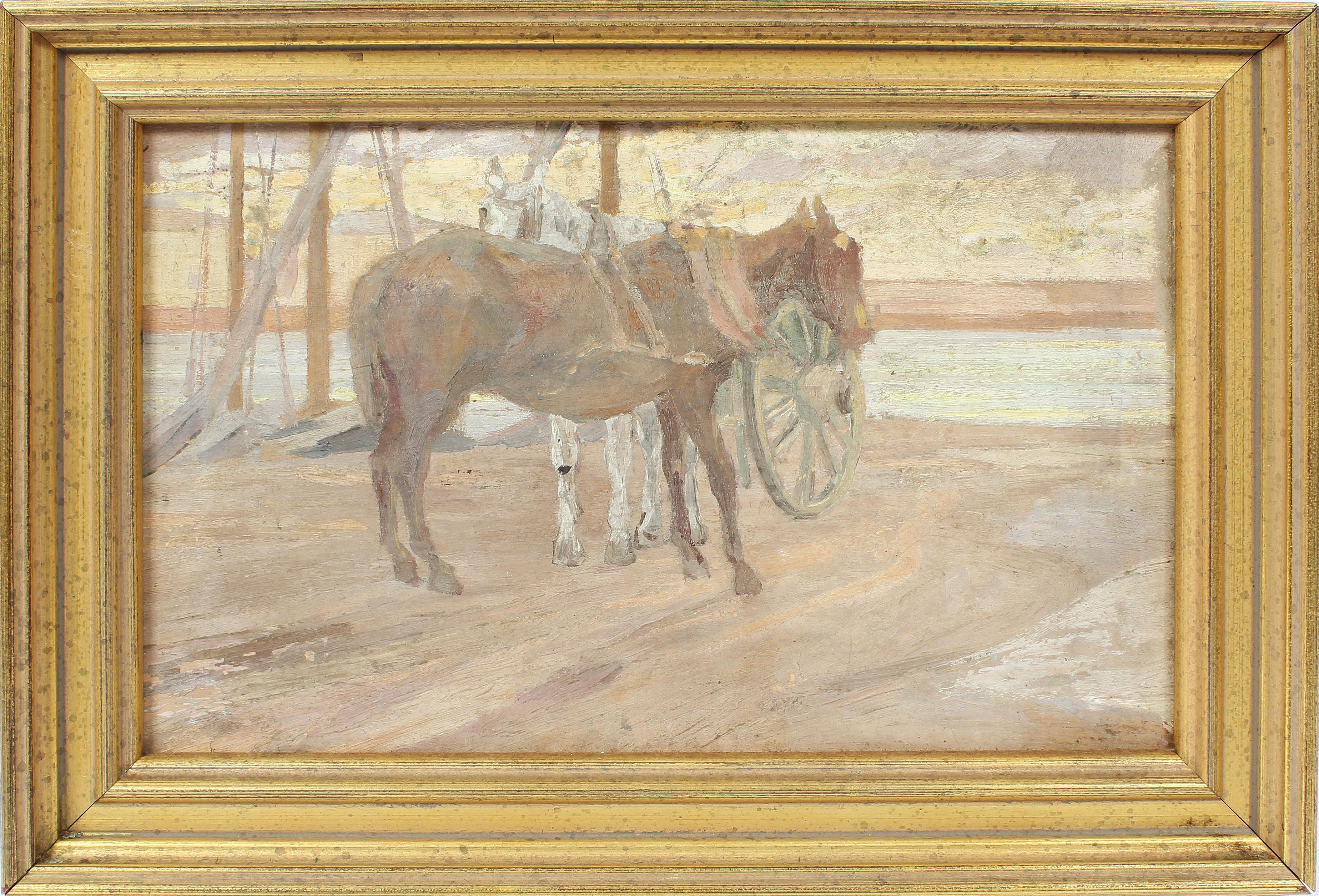 Antique American Impressionist Coastal Horse Portrait Sunset Luminous Painting